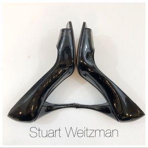 Stuart Weitzman Black Patent Leather Open Toe Heel